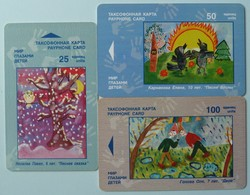 RUSSIA / USSR - Chip - Yaroslavl - World Through Choldren's Eyes - Group Of 3 - 25, 50  & 100 Units - Used - Russia
