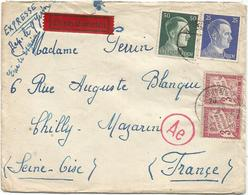 TAXE 3FR PAIRE LONGJUMEAU 1943 LETTRE EXPRES HORS COMMUNE HITLER 25C+50C BERLIN POUR CHILLY MAZARIN RARE - Postmark Collection (Covers)