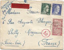 TAXE 3FR PAIRE LONGJUMEAU 1943 LETTRE EXPRES HORS COMMUNE HITLER 25C+50C BERLIN POUR CHILLY MAZARIN RARE - Lettres Taxées