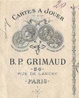 """Facture + Traite + Enveloppe Commerciale 1889 / PARIS / GRIMAUD / CHARTIER / Brevet Invention /Cartes à Jouer """"Opaques"""" - France"""