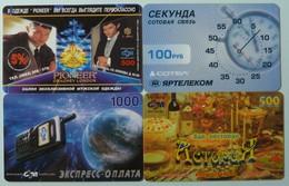 RUSSIA / USSR - Remote Memory / Prepaid - Yaroslavl - Sotel, Pioneer Gragney, Astoriya, Map - Group Of 4 - Used - Russia