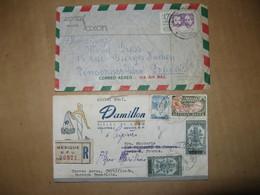 LOT DE 2 LETTRES POSTEES  LE 18/8/1947 A MEXICO 4 TIMBRES OBLITERES INTACTS+ 1960 HOTEL SAXON - Mexiko