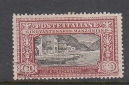 Italy S 151 1923 50th Anniversary Death Of Manzoni, 10c Red And Black, Used - 1900-44 Vittorio Emanuele III