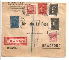 1938 Expresse Amsterdam>Bradford. Expres Fee Paid 6d - 1891-1948 (Wilhelmine)