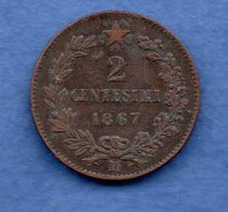 Italie -  2 Centesimi 1867 M  -  Km #   - état  TB+ - 1861-1878 : Victor Emmanuel II.