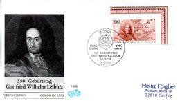 """BRD Schmuck-FDC """"350. Geburtstag Von Gottfrird Wilhelm Leibnitz"""" Mi.1865 ESSt 13.6.1996 BONN - FDC: Briefe"""