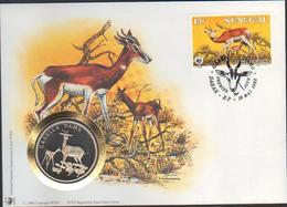 BUZIN / WWF / FDC AVEC MEDAILLE COMMEMORATIVE 30 Ans DU WWF / SENEGAL 1986 / DAMA GAZELLE - 1985-.. Birds (Buzin)