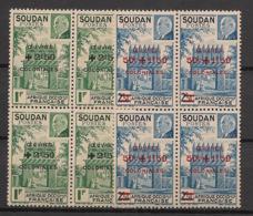 Soudan - 1944 - N°Yv. 133 à 134 - Pétain / Oeuvres En Blocs De 4 - Neuf Luxe ** / MNH / Postfrisch - Unused Stamps