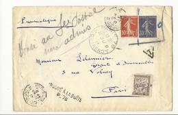 Rare : Lettre Envoyée En Pneumatique Avec Anomalie (voir Description) - Paris, 1917 - Taxée à 10 Cts - Taxes