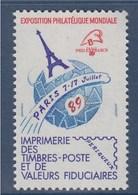 = Philexfrance Paris 89 Vignette Neuve Imprimée Sur Place N°25 - Philatelic Fairs