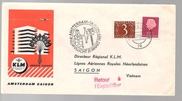 62 Cents 1959 1st Flight Amsterdam To Saigon Vietnam  (EX-14) - 1949-1980 (Juliana)