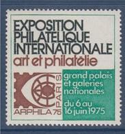 = Arphila 75 Paris Exposition Philatélique Internationale Grand Palais Art Et Philatélie Vignette N°20 Neuve - Philatelic Fairs
