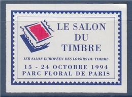 = 1er Salon Européen Des Loisirs Et Du Timbre Parc Floral De Vincennes Vignette Annonce Adhésive Non Dentelée N°26 Neuve - Philatelic Fairs