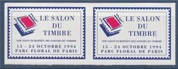= 1er Salon Européen Des Loisirs Et Du Timbre Parc Floral De Vincennes Paire Vignette Adhésive Non Dentelée N°26 Neuve - Philatelic Fairs