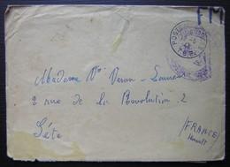 Indochine 1947 Lettre De L'Arcachonnaise 2°F.A Saïgon Naval, Texte Parlant Des Viets Minh Et D'une Bataille, Pour Sète - Postmark Collection (Covers)