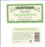 """Etiquette De VIN DU PAYS D'OC """" Récital Chardonnay Blanc """" - Vin De Pays D'Oc"""
