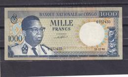 Congo   Ex Belgian  1000 Fr 1961  AU - Repubblica Democratica Del Congo & Zaire