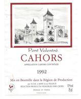 """Etiquette De VIN DE CAHORS """" Pont Valentré 1992 """" - Cahors"""
