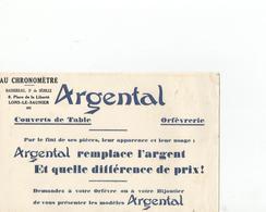 Buvard Argental Avec Un Tampon Bassereau Lons Le Saunier - Altri