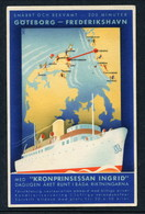 "1936 POSTER ADVERT PC - ""KRONPRINSESSAN INGRID"" -- GOTEBORG-FREDERIKSHAVN -- SPECIAL CACHETS - Paquebots"