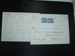 LETTRE Pour MEXIQUE TP M. DE GANDON 15F Paire OBL.MEC.26-1 1954 LE HAVRE PRINCIPAL (76) - 1945-54 Marianne De Gandon