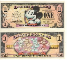 USA   DISNEY $ 1  MICKEY MOUSE   Serie T  2008   GENUINE - Collections
