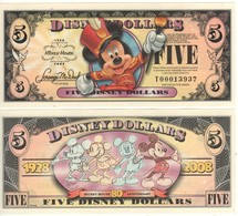 USA   DISNEY $ 5  MICKEY MOUSE   Serie T  2008   GENUINE - Collections