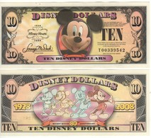 USA   DISNEY $ 10  MICKEY MOUSE   Serie T  2008   GENUINE - Collections