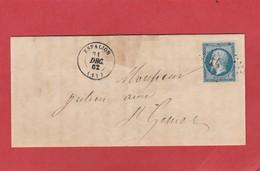 Aveyron - Espalion GC 1415 Sur N°22 - LAC De Décembre 1862 - Marcophilie (Lettres)
