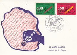 REUNION Carte Maximum Yvert 410 + 411 Code Postal 3/6/1972 - Reunion Island (1852-1975)