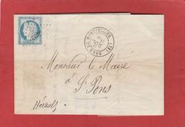 Herault - Gare De Montpellier CAD Sans Année - Cérès - LAC D'octobre 1873 - Marcophilie (Lettres)