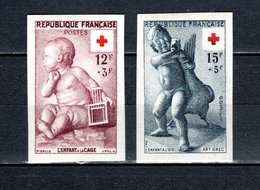 FRANCE  N° 1048 + 1049   NON DENTELES  NEUFS SANS CHARNIERE  COTE 160.00€   CROIX ROUGE - France