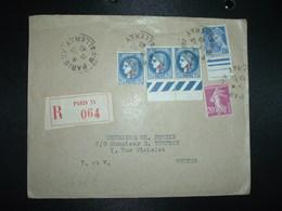 LR TP CERES 1F75 Surch. 1F X3 + SEMEUSE 20c + MERCURE 10c OBL.19-12 40 PARIS XV - Postmark Collection (Covers)
