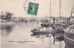BAC19-  COGNAC EN CHARENTE LE PONT DE SAINT JACQUES ET LE PORT  CPA  CIRCULEE - Cognac