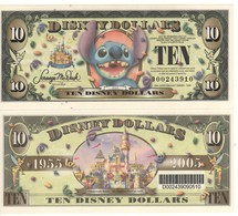 USA   DISNEY $ 10    STICH   Serie D  2005   With BAR CODE   GENUINE - Collections