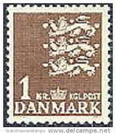 DENEMARKEN 1946 1kr Rijkswapen Bruin PF-MNH-NEUF - 1913-47 (Christian X)