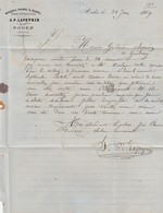 Aveyron - Rodez - J.P.Lapeyrin - Mercerie, Plumes Et Duvets, Peaux, Chiffons Et Crins - 1869 - France