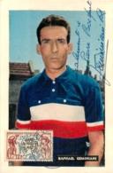 TOUR DE FRANCE 1955 BRIANCON 8em  ETAPE  RAPHAEL GEMINIANI  AVEC DEDICACE ET TIMBRE ET CACHET - Wielrennen