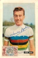 TOUR DE FRANCE 1955 LE HAVRE 1er ETAPE   LOUISON BOBET LOUIS   AVEC DEDICACE ET TIMBRE ET CACHET - Wielrennen