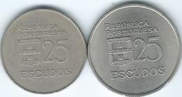 Portugal - 25 Escudos - 1977 (KM607) & 1980 (KM607a) - Portugal