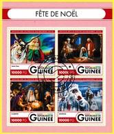 Bloc Feuillet Oblitéré De 4 Timbres-poste - Fête De Noël - N° 12026-12029KB (Michel) - République De Guinée 2016 - Guinée (1958-...)