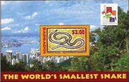 Barbados 2001 New Chinese Year Of The Snake S\S MNH - Barbados (1966-...)