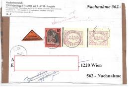 3099n: Heimatbeleg 2293 Marchegg 17.4.2001, Nachnahme- Briefvorderseite - Gänserndorf