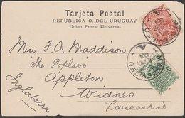 URUGUAY - GREAT BRITAIN 1904 MONTEVIDEO POSTCARD - Uruguay