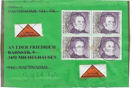 3099a: Österreich Franz Schubert, 40.- ÖS Nominal, Gestempelt 1997 Auf Nachnahmebrief- Vorderseite, RR - Musik