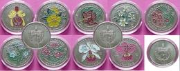9 Coins 1 Peso Flora Of The Caribbean And Flora Of Cuba - Cuba