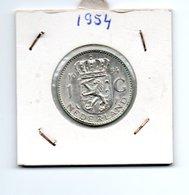 NEDERLAND 1 GULDEN 1954 JULIANA ZILVER - [ 3] 1815-… : Royaume Des Pays-Bas