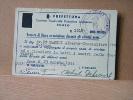 MONDOSORPRESA, TESSERA LIBERA CIRCOLAZIONE DURANTE GLI ALLARMI AEREI - GUERRA  - 1944 - Biglietti Di Trasporto
