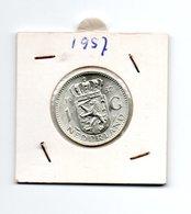 NEDERLAND 1 GULDEN 1957 JULIANA ZILVER - [ 3] 1815-… : Royaume Des Pays-Bas