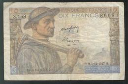 Billet 10 Francs France Mineur 4-12-1947 Bon état - 1871-1952 Anciens Francs Circulés Au XXème